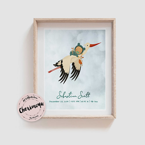STORK DELIVERY  BIRTH ANNOUNCEMENT - LIGHT SKIN