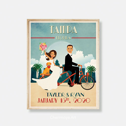 LOVE ON A TANDEM BIKE-  CUSTOM VINTAGE STYLE WEDDING POSTER