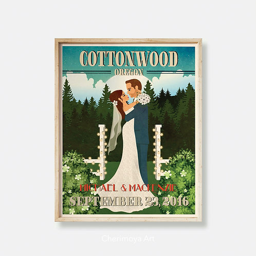 INTO YOUR EYES -  PERSONALISED RETRO WEDDING POSTER