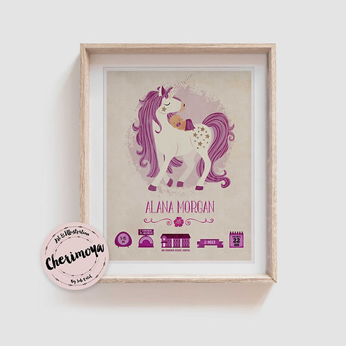 LOVELY UNICORN BIRTH ANNOUNCEMENT