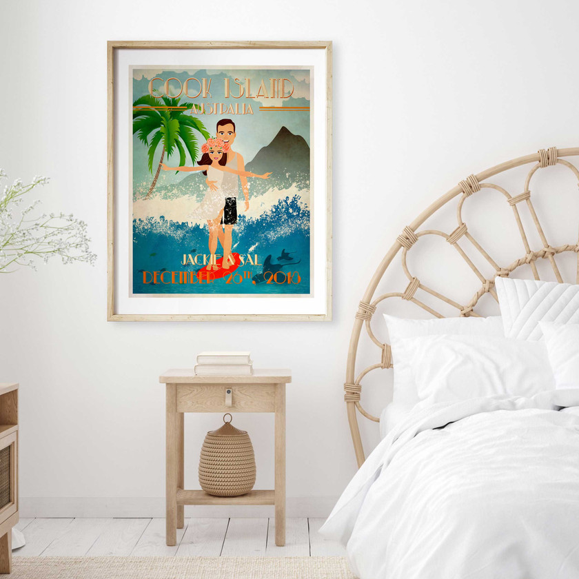 Surfing Couple Beach Wedding Getaway Whimsical Print Artwork Gift Ideas Newlyweds