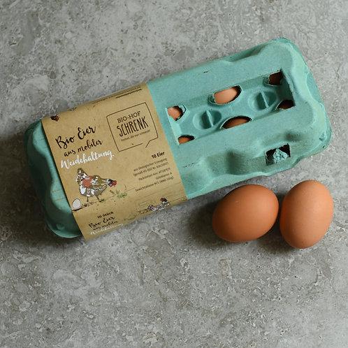 BIO Eier aus mobiler Weidehaltung (10 Stück Packung, Größe M/L)