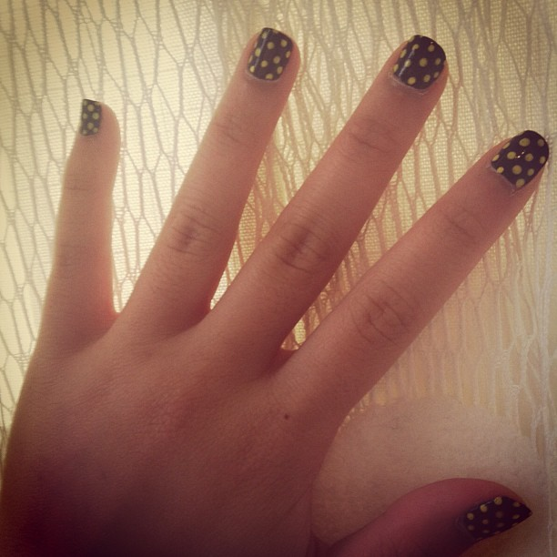 Girl With The Coolest Nails At The Party #manicure #polkadots #naildesigns