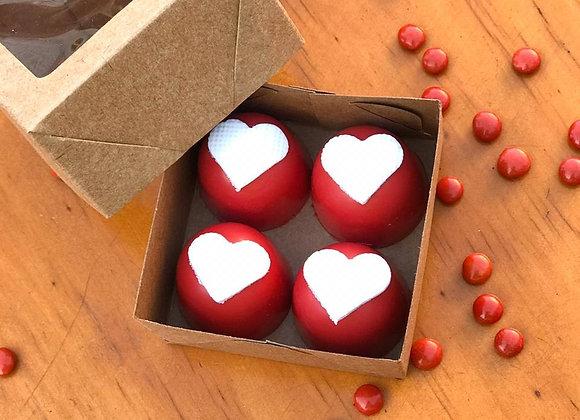 Caixa com 4 Bombons com Aplique de Coração