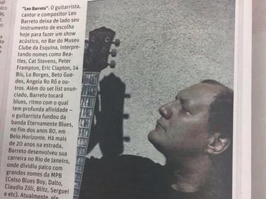 Matéria no Jornal O Tempo (BH) sobre o show de Leo Barreto no Museu do Clube da Esquina