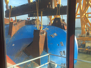 Photo Release: Responders begin cutting Section One of Golden Ray Wreck