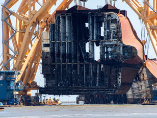 Section Seven of the Golden Ray wreck removed