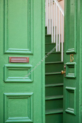 Open Green Door Steps