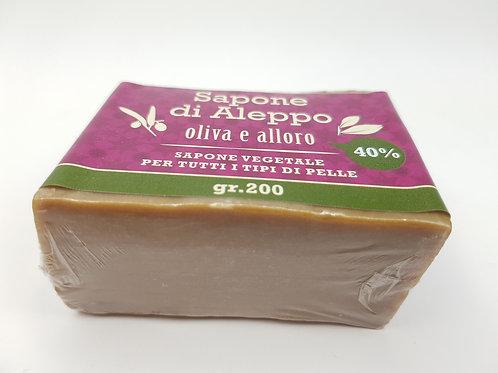 Sapone di Aleppo Olio di Alloro 40%; Olio di Oliva 60%