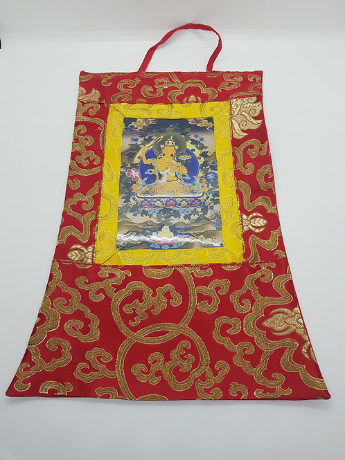 Thangka Tibetano in Seta Broccata Rossa Piccola