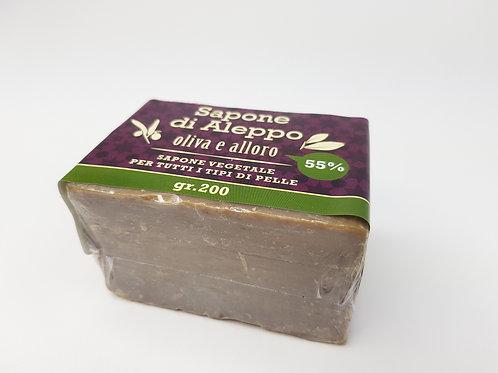 Sapone di Aleppo Olio di Alloro 55%; Olio di Oliva 45%