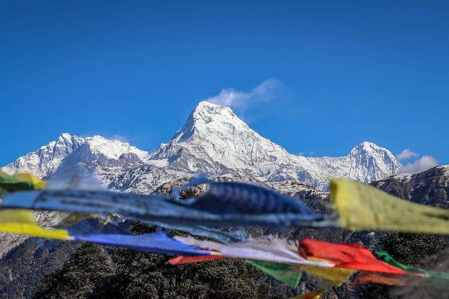 Bandierine tibetane con sfondo montagne