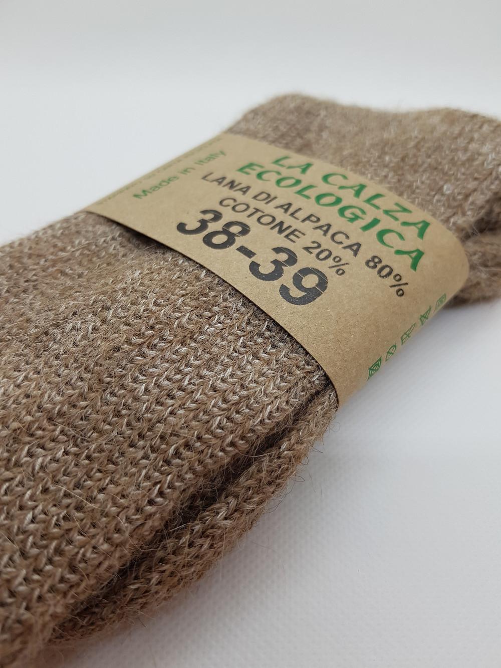 calza naturale lana alpaca cotone filamenti grossi