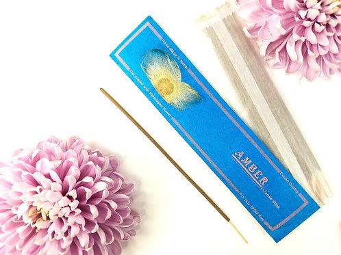 Incenso Ambra / 100% Naturale in Confezione Lokta con fiore Him