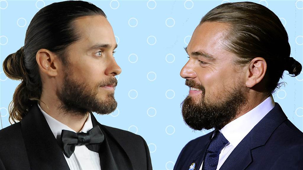 "Jared and Leo proudly donning their ""buns"""