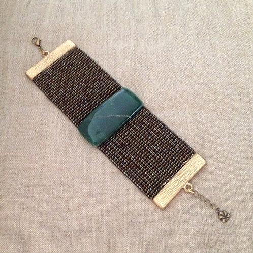 Bracelete miçangas/quartzo verde