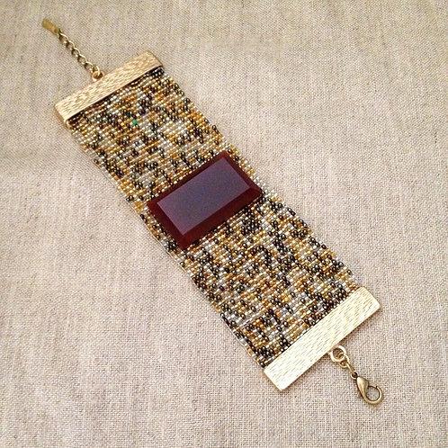 Bracelete miçangas/ágata bordeaux