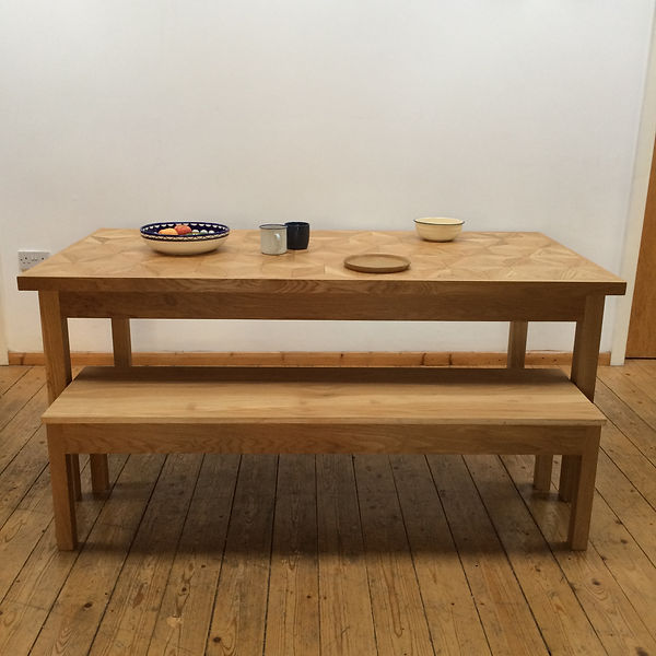 Geometric dining table and bench
