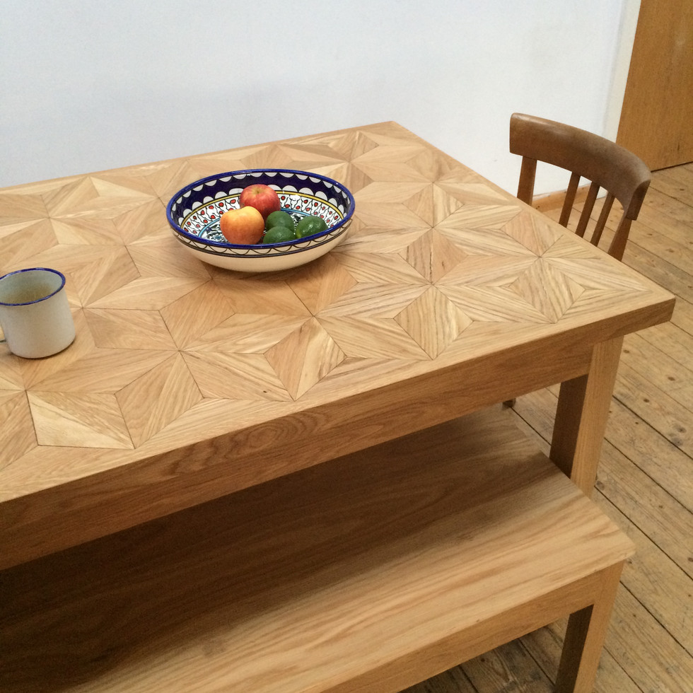 Hand crafted solid oak dining table and bench with solid oak geometric inlaid tabletop