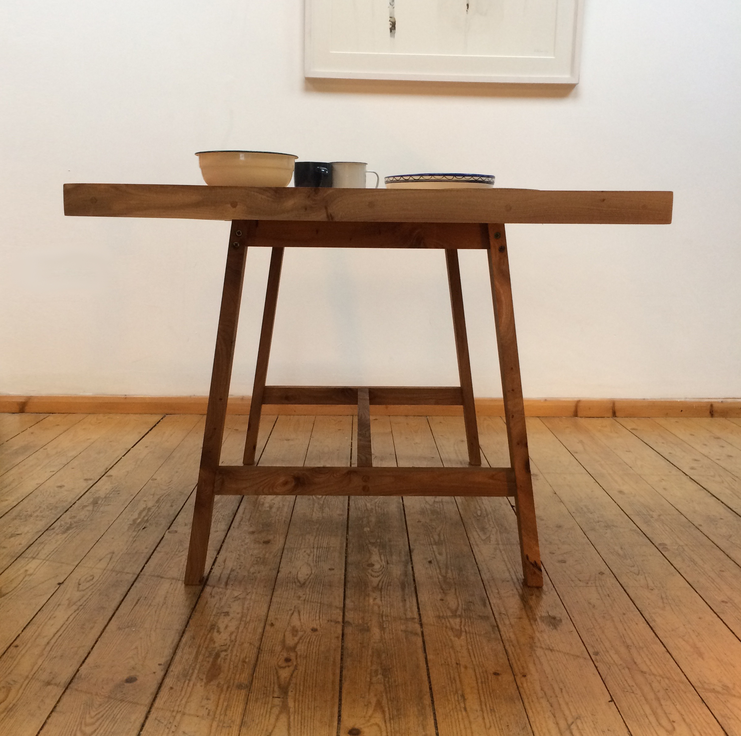 Elm dining table - end on