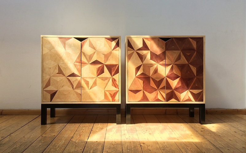 Pair of geometric cabinets