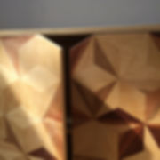 Geometric marquetry cabinet