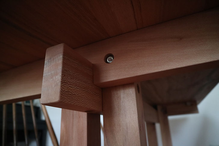 Joinery close up of knock-down dining table