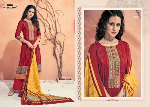 894bddc393 Avnoor By Shahnaz Arts Cotton Print with Embroidery Unstiched Salwar Kameez