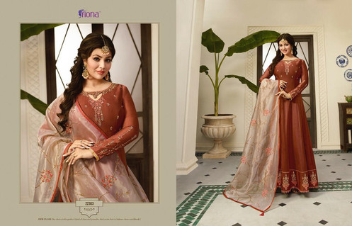 cf25a1e3ff Fiona Ayesha kali Organza Silk heavy Dupatta Vol 2 Gown Collection | Rehmat  Boutique. Fabric Details. Top : Satin Georgette With Embroidery