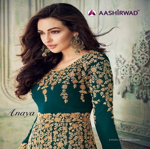 1624f071e0 Aashirwad Anaya Georgette Heavy Party Wear Gown Collection Wholesale ...