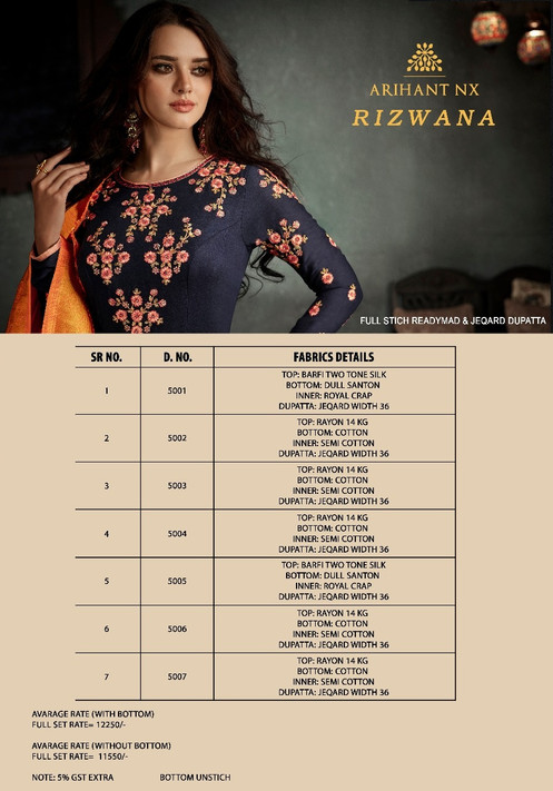 a373fa010d Rizwana By Arihant Nx Designer Suits Collection