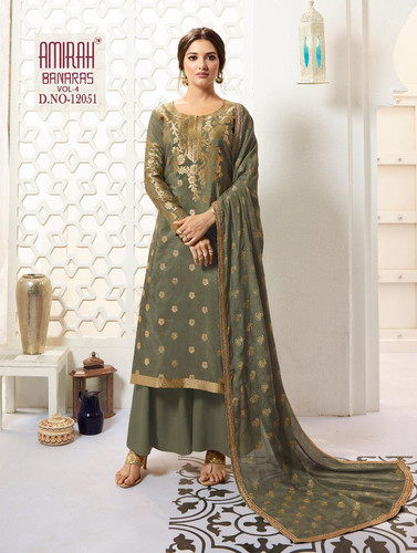 98e5c4a687 Amirah Banaras Vol 4 Pure Banarasi Silk Designer Salwar Kameez Collection  Surat