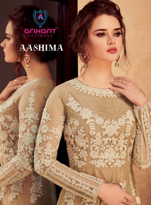 f351a35118 Arihant Aashima Embroidery Silk Designer Party Wear Anarkali Style Gown  Collection | Rehmat Boutique. Product Details. Top: Heavy Silk with Butterfly  Net