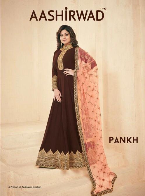 b97ed6f14c Aashirwad Pankh Georgette Anarkali Party Stylish Salwar Suit