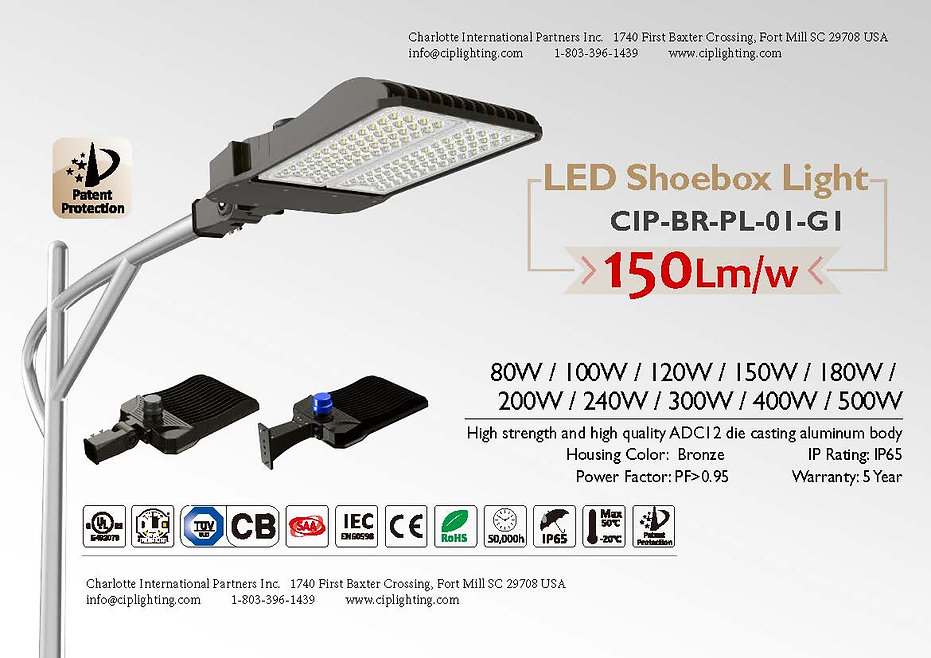 CIP Shoebox Light BR-PL100W-500W-01-G1 P