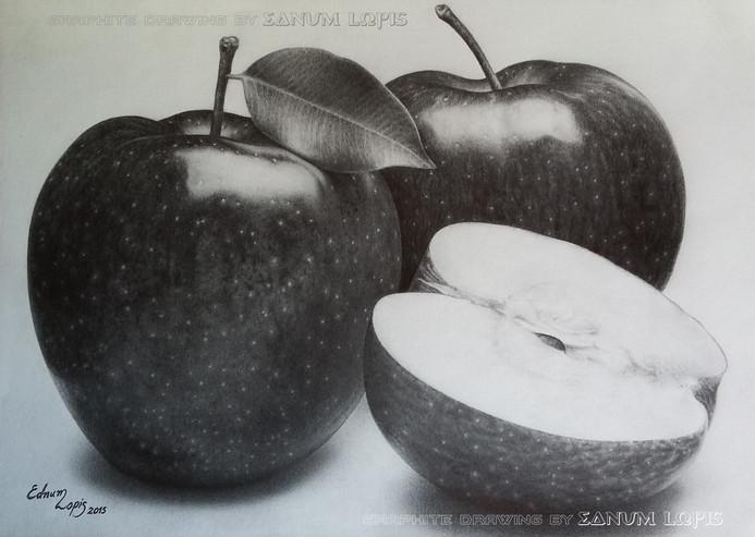Estudo de sombra e luz com maçãs