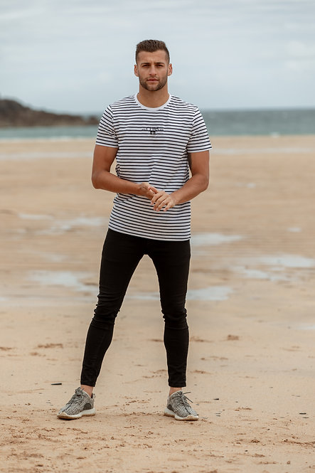 Kernow Stripe T-Shirt - Navy // White