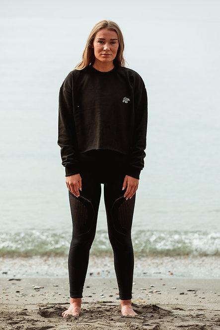 Cropped Sweatshirt - Black // White
