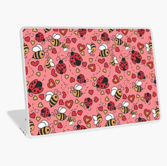 Bugs and Bees Pink Laptop Skin