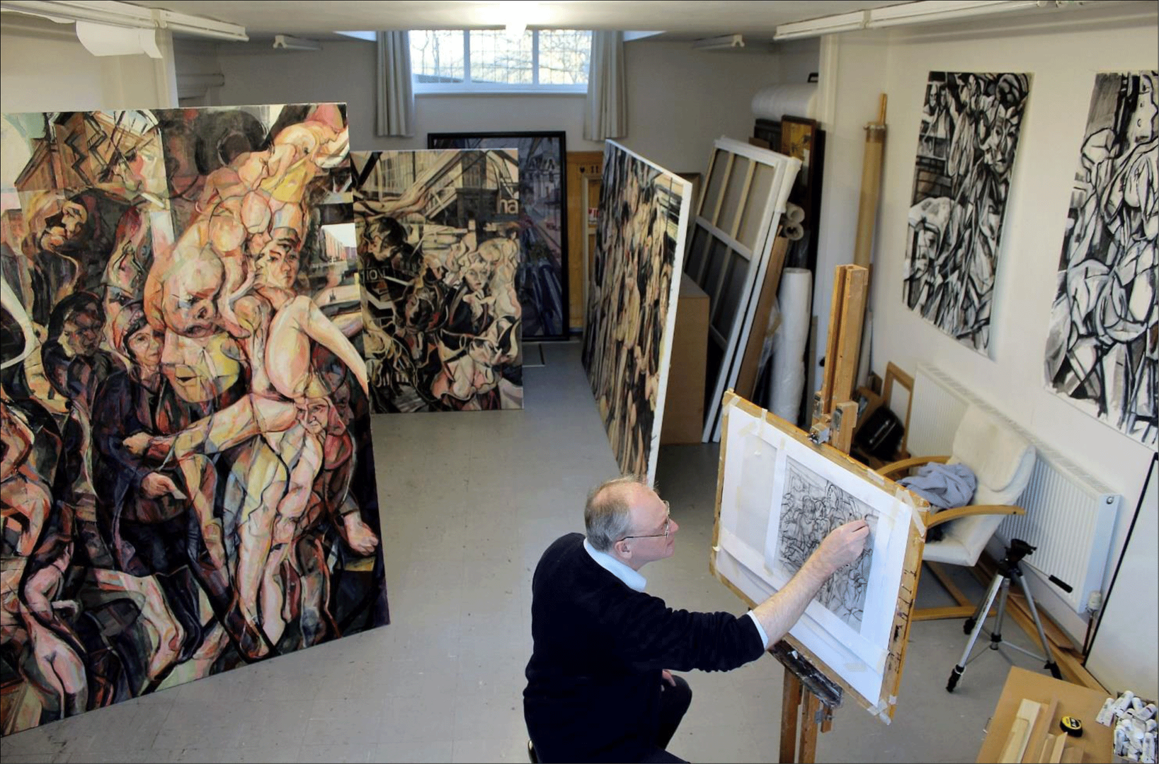 Head at work on the Parlour Paintings