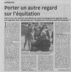 04.04.2019, Article publié dans La Nouvelle République Indre