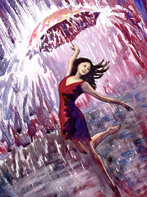 Rain Dance: Original Watercolor 9x12""