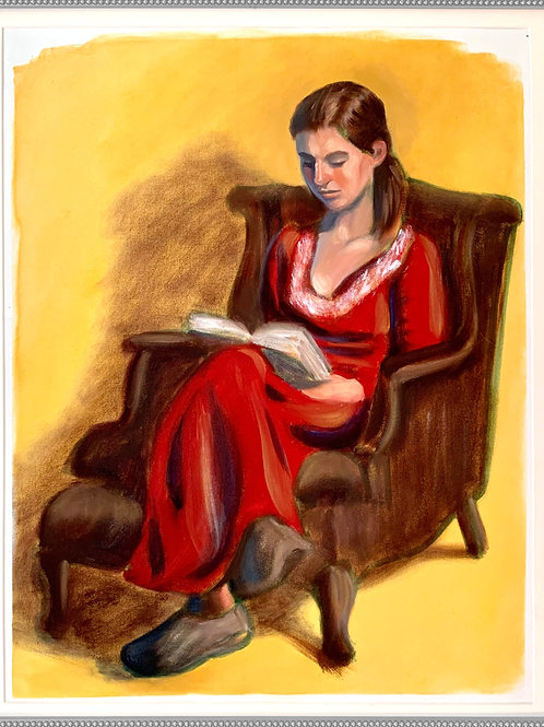 """Velvet and a Good Book: Oil Painting 18x23"""""""