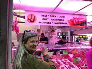 In Australia touring the many fantastic open air markets. Kangaroo is a local specialty, regarded much like venison in the US.