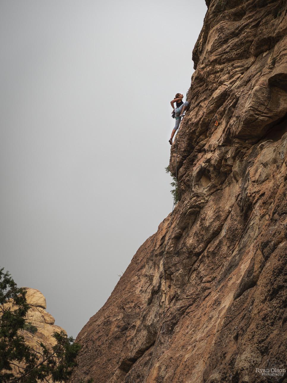 "Abeer Zailai climbing ""Flying Carpet"" 6c in Tanomah, Saudi Arabia"