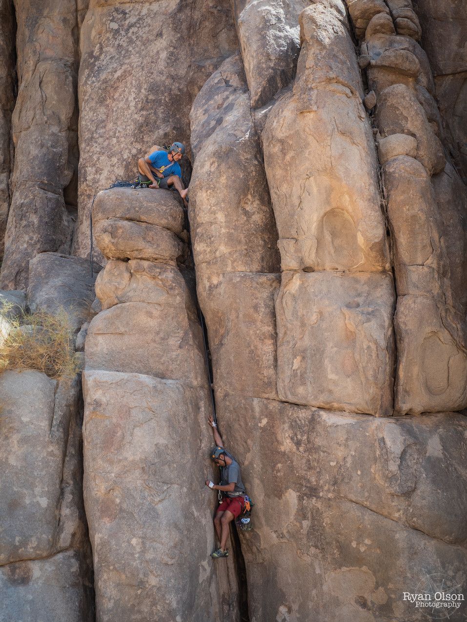 Joao Miguel and Majed Alnaji climbing a new route between Al Ula and Tabuk, Saudi Arabia