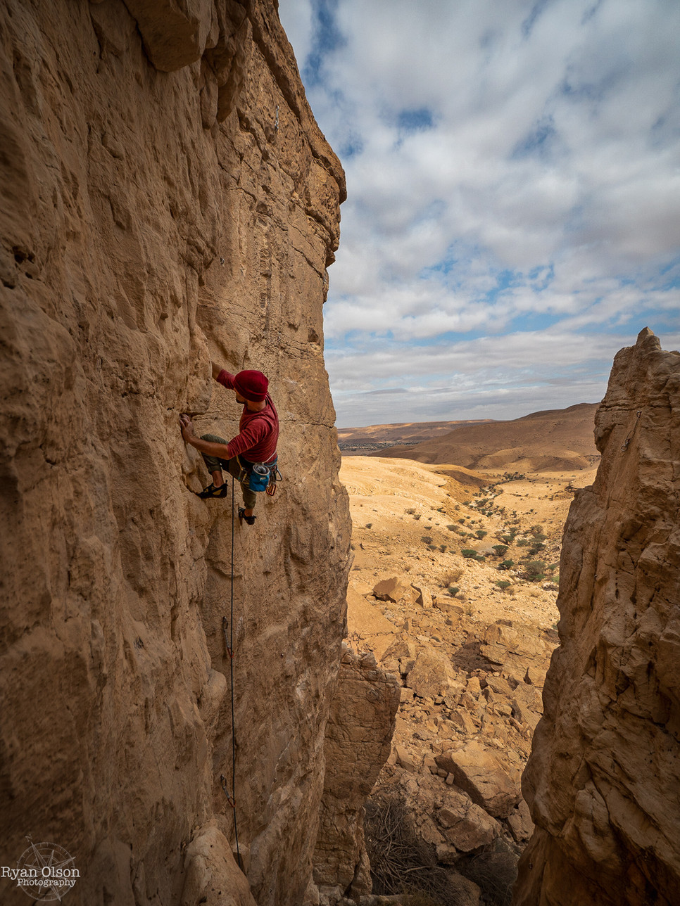 "Kenny Strickland climbing ""Miya Miya"" 5c+ in Wadi Al Akhu, Saudi Arabia"