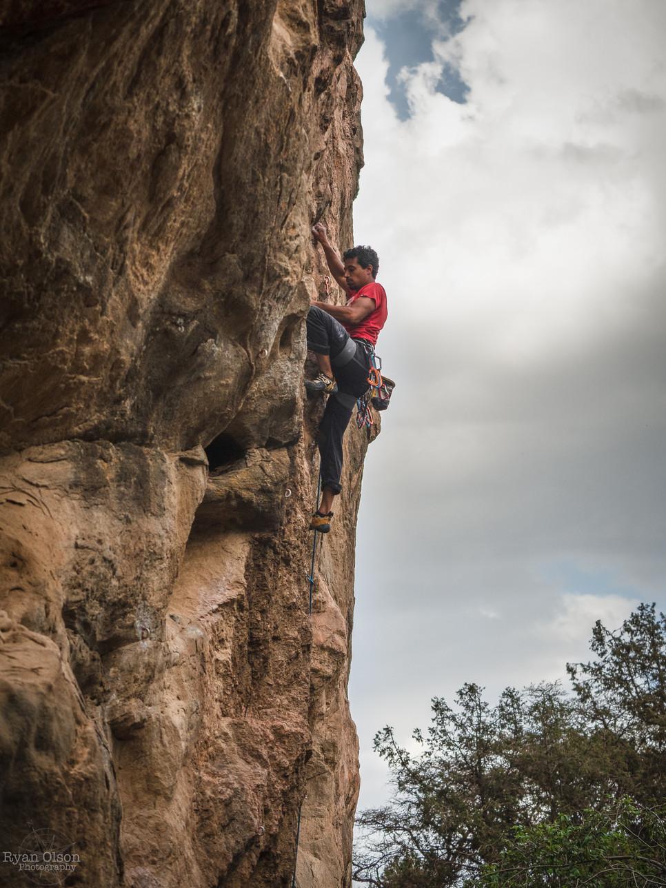 "Abdulrahman Alabdu climbing ""All them Vultures"" 7c+ in Tanomah, Saudi Arabia"