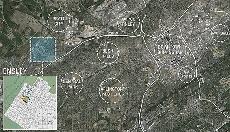 Ensley, Alabama and surrounding communities including Pratt City, Central Park, Bush Hills, Arlington West End, Acipco Pinley, Downtown Birmingham, Five Points, and Avondale.