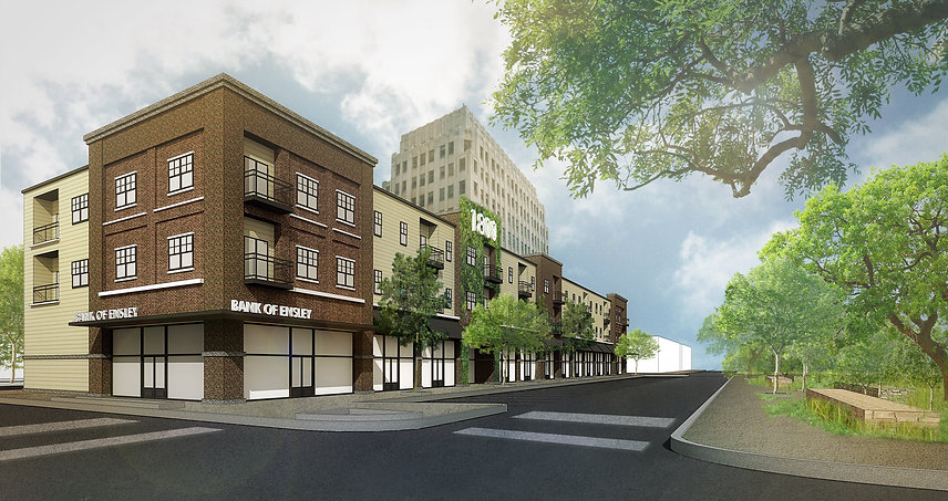 BEAT project 3D rendering of Ensley Junction Flats 3-level mixed-use building facing park in Birmingham, Alabama